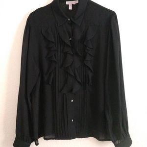 Black Ruffle Front Blouse High Neck 16 Romantic